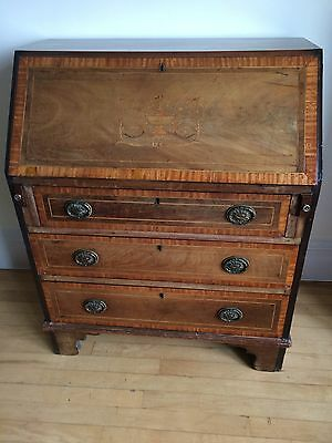 Spectacular tiny Georgian revival Edwardian Inlaid Mahogany Antique Bureau /Desk