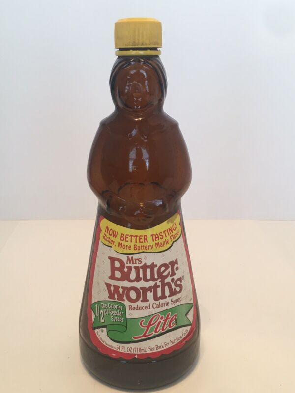 Vintage Mrs Butterworth's Amber Glass Syrup Bottle  Lite W/Lid Cap 24 Ounce