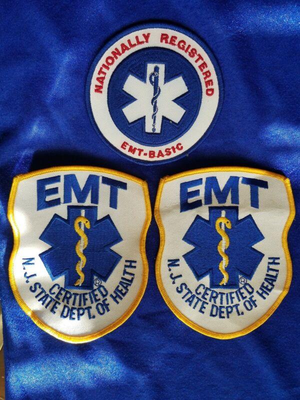 LOT of 3 Vintage NJ State Dept of Health EMT Large Cloth Patch New NOS 1980