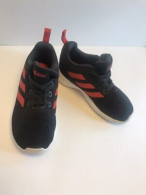 Rare Kids Addidas Shoes Size 8 Htf Charcoal Red Stripes Gently Used Only Worn 1x