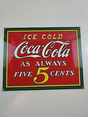 "Coca-Cola Porcelain Enamel Metal Sign ""Ice Cold As Always 5 Cents"" Vintage Mint"