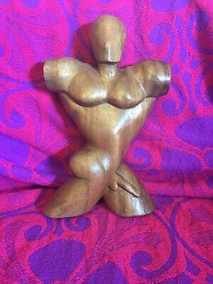 Vintage Retro Carved Wooden Model Arty Unique Nude Man Figure