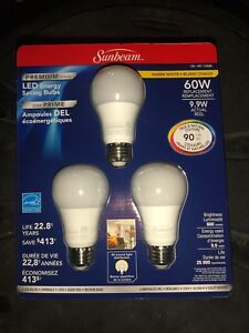NEW!! 6 (3 pack) Sunbeam LED Bulbs 60W