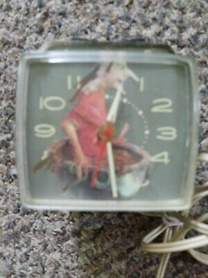 Vtg Westclox Square Custom Alarm Clock Halloween Witch Mad Men 50s 60s