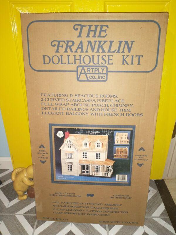 1979 Vintage Artply Co., Inc The Franklin Dollhouse Kit Model NO.124 Wooden NEW
