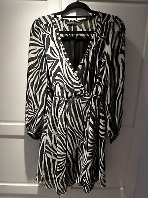 Zara Zebra, black and white, Chiffon wrap Party Dress with balloon sleeves L 12