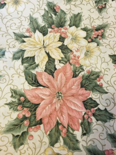 "VTG CHRISTMAS TABLE RUNNER SATEEN FINISH - PINK & WHITE  POINSETTAS - 16"" X 58"""