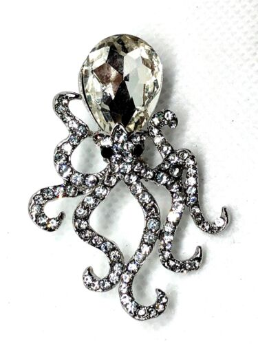 "OCTOPUS Brooch pin clear rhinestones 1.5""x2"" scuba diving snorkel surf GIFT #99"