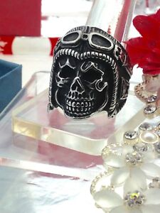 New! Silver coloured skeleton pilot head ring size 13.25