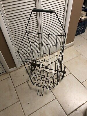 Vintage Wire Grocery Laundry Collapsible Pull Cart Basket Dennis Mitchell Ind.
