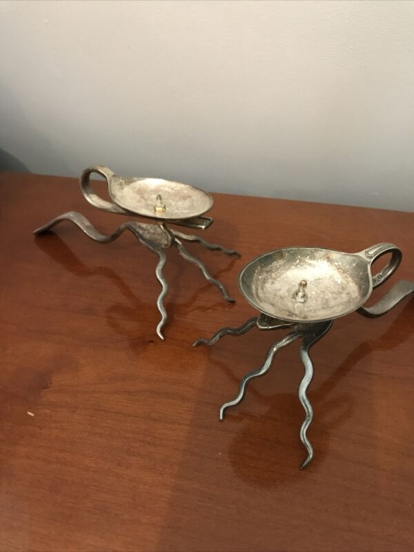 Vintage Pair EPNS Candle Holders In The Form Of Spoon & Fork Unusual Quirky Gift