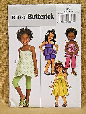 BUTTERICK PATTERN  5020 DRESS TOP PANTS  EASY GIRLS  SIZES  2 3 4 5  UNCUT