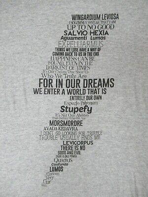 HARRY POTTER LIGHTNING BOLT LIST OF SPELLS - MEDIUM GRAY T-SHIRT - (Harry Potter Spells Lightning Bolt T Shirt)