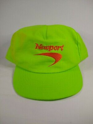 80s 90s Vintage Newport Cigarettes Snapback Neon Green Hat 'Alive With Pleasure'