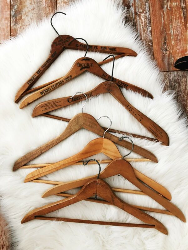 Lot Of 7 Vintage Wooden Advertising Hangers Hotel, Clothing Stores Cleaners