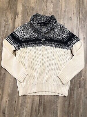 Nautica Mens Cable Knit Sweater Size L Cream Long Sleeve Button Collar Pullover