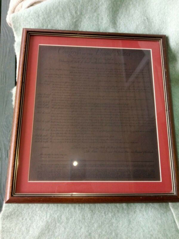 Copy of Bill of Rights from the 1789 Congress in New York, matted and framed.