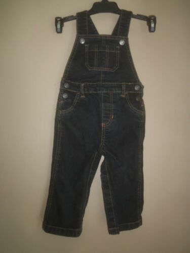 CARTERS BLACK BROWN DENIM STRETCH JEAN OVERALLS BIBS PANT TODDLER 18 MONTHS