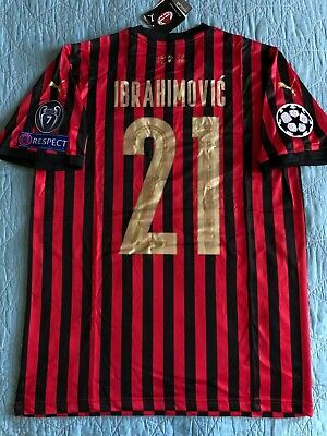Zlatan Ibrahimovic #21 AC Milan Red/Black Soccer Jersey Serie A Mens L