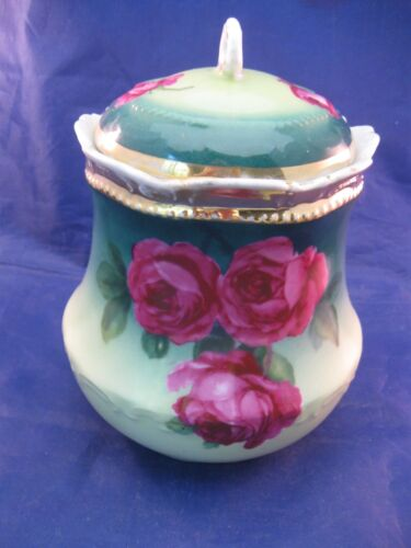 ANTIQUE PORCELAIN BISCUIT JAR W COVER - GREEN WITH RED ROSES