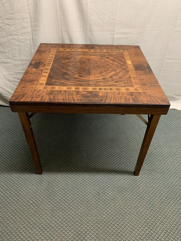 Antique Vintage Wood Folding Card Table   WOW !!!