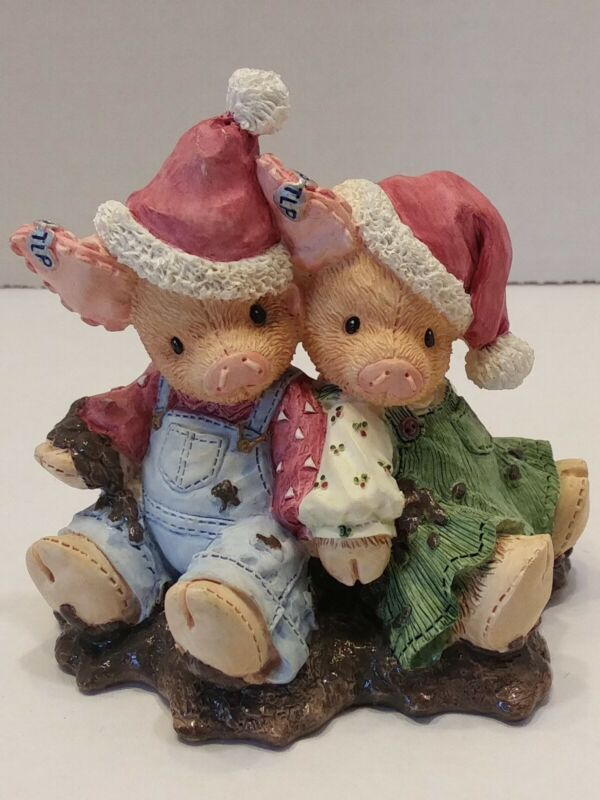 This Little Piggy, 1995 Figurine, Enesco.  We Squish you a Merry Christmas, #
