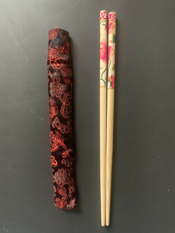 1 NEW Set Chinese Wooden Chopsticks with Silk Case