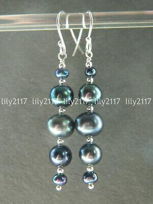 Genuine Natural Peacock Black Freshwater Pearl Silver Hook Long Drop Earrings -