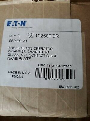 Eaton 10250tgr 30.5 Mm Control Station Break Glass Station Red Enclosure 1nc