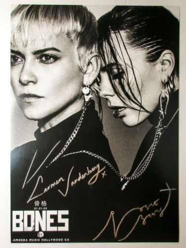 Bones UK (Rosie, Carmen Vanderberg) Signed Amoeba Music Event Poster PROOF COA