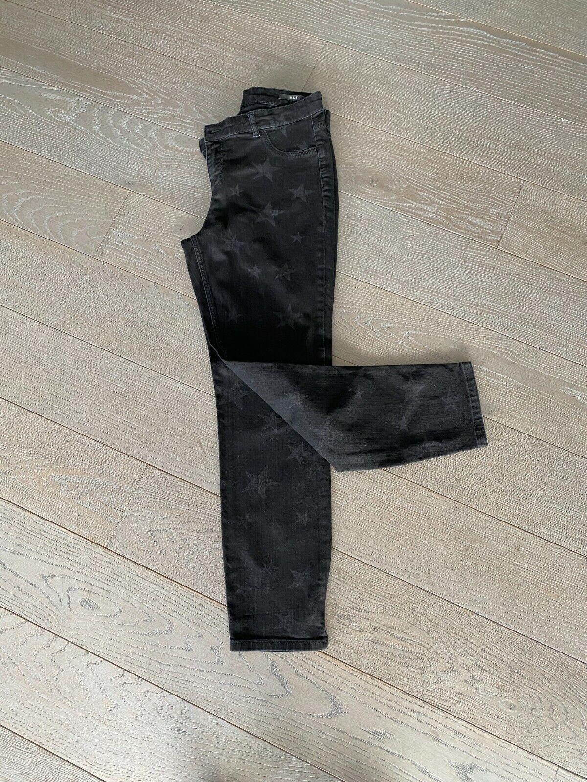 Set jean skinny noir av motifs etoiles gris foncés t/42 tbe coll 18/19 px 130€