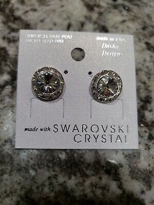 Stud Earrings Swarovski Elements Crystal CLEAR with Rhinestones NEW for sale  Shipping to South Africa