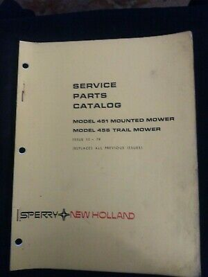 Sperry New Holland Model 451 456 Mower Service Parts Catalog Issue 11-79