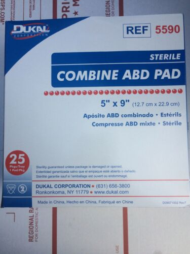 "Dukal 5590 Sterile Combine ABD Pad Sterile 5""x9"" 25/box"