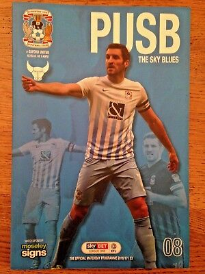 Coventry City v Oxford United - League 1 -18th October 2016 - Football Programme