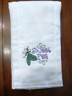 Burp Cloth Sweet - Sweet Pea embroidered burp cloth Personalized
