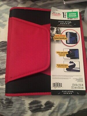 Nwt Mead Five Star Red Black 1.5 Zipper Binder 500 Sheet Capacity
