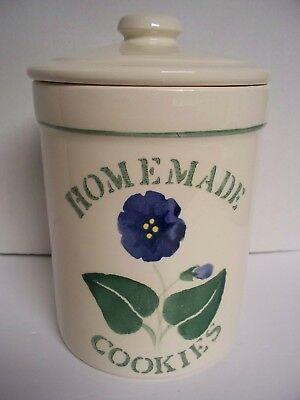 HOMEMADE COOKIES Cream w/ Green & Blue Flower Cookie Jar CROCK SHOP Santa Anna