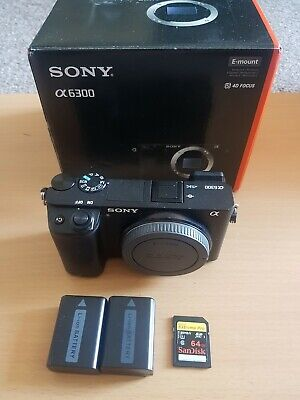 Sony Alpha A6300 24.2MP Digital Camera - Black with 64gb sd and 2 batteries