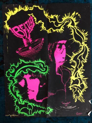 Original Poster The Beatles Black Light Psychedelic John Lennon Los Angeles CA