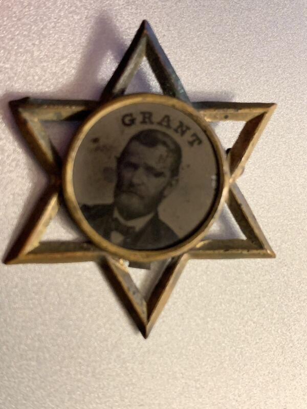 Antique Ulysses S.Grant President Campaign Ferrotype Star Pin
