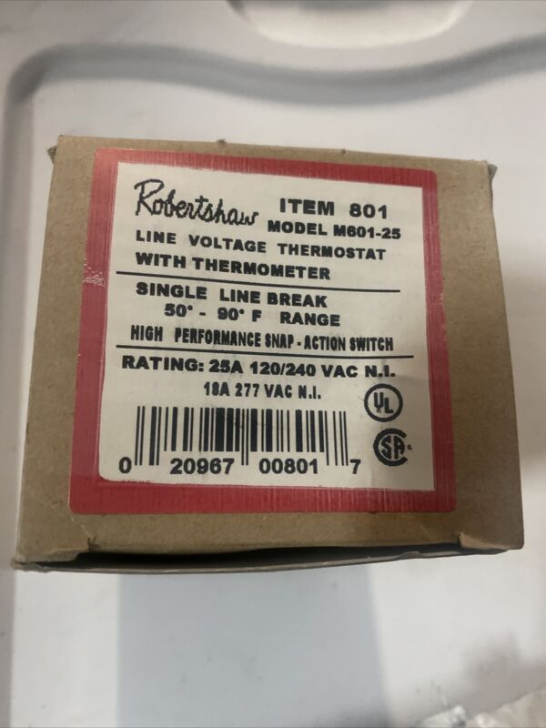 Robertshaw 120/240 Volt Line Voltage Single Pole Thermostat