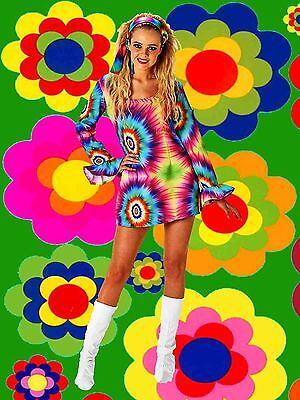 Bogen Kostüme (456✪ groovy Regenbogen Batik Blumenkinder Hippie Trompetenärmel Kleid Kostüm GrM)