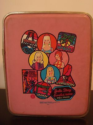 Vintage Barbie Stacey Francie & Skipper World Travel Case Trunk 1968