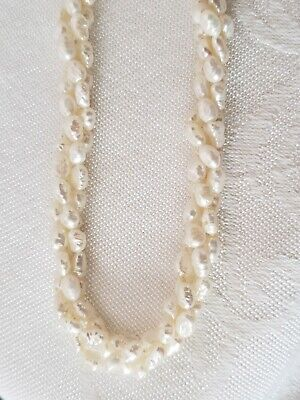 VINTAGE PEARLS PEARL STRAND THREE ROW WOUND TOGETHER FRESH WATER WHITE (Row White Freshwater Pearls)