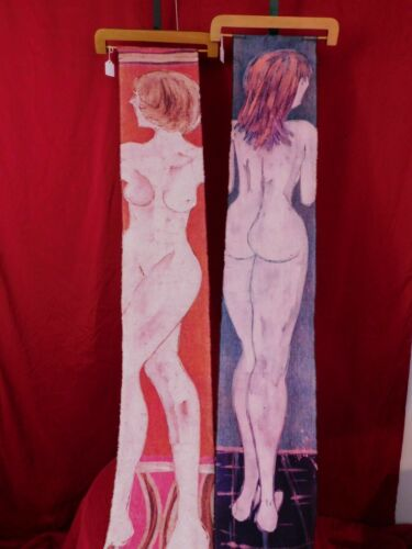 Original+Batik+Art+2+Nudes+Wall+Hang+Tapestry+Style+58%22L+9%22W+ea++Artist+Signed