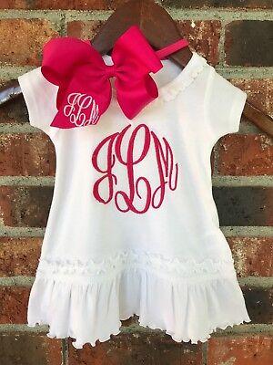 Monogrammed Custom Personalized Toddler Ruffle Hem Dress & Bow You Choose Color  - Monogrammed Toddler Dresses
