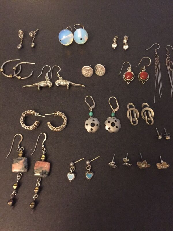 Sterling Silver LOT OF 16 PAIRS  EARRINGS