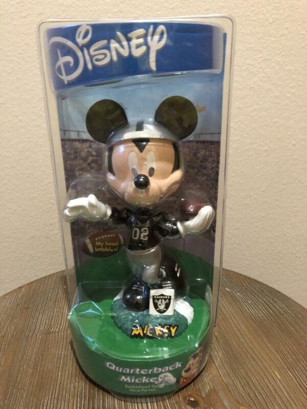 RARE! Oakland Raiders Disney Quarterback Mickey Mouse Hand-Painted Bobblehead