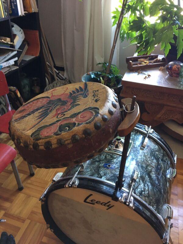 Antique Chinese Tom Tom Mount Ludwig Leedy Black Rare